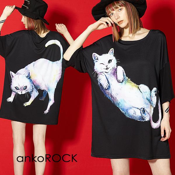 ankoROCK アンコロック ビッグ Tシャツ メンズ カットソー レディース ワンピース ユニセックス 服 ブランド 半袖 大きいサイズ ビッグシルエット 黒 ブラック プリント ネコ 猫