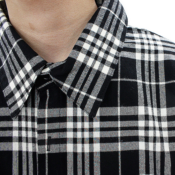 AnkoROCK 체크 셔츠-슈퍼 롱 빅-/남성용 빅 셔츠 여성 롱 셔츠 야 롱 길이 티셔츠 개성적 체크 셔츠 롱 드레스 셔츠 코트 긴 소매 검정 블랙 록 패션 스페셜 하라주쿠 계통의 패션 무대 의상 안코 잠금