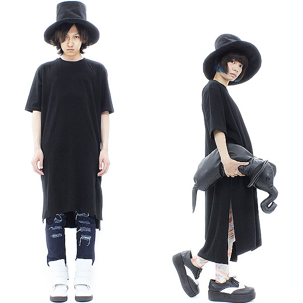 A.p.o.v.-ankoROCK 's select-블랙 슈퍼 롱 길이의 T 셔츠/남자 롱 T 셔츠 여성 롱 길이의 T 셔츠 야 빅 빅 셔츠 실루엣 T 개성적 T 셔츠 반 컷 소 우 롱 컷 소 우 검정 블랙 모드 계 패션 여름 안코 잠금