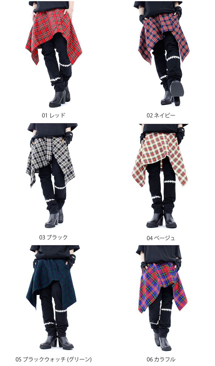 ankoROCK Tartan check アシメカッティング deformation silhouette wrap skirt / check skirt men's women's knee-length red white long flashy mode Gothic Rock fashion rock series distinctive アンコロック Hara-Juku series stage rock Goth Street