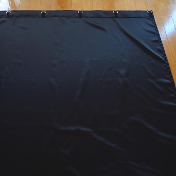 【高級感ある光沢・遮光1級・防炎加工】サテン地暗幕RS-1 巾430cm×丈300cm(リング付き暗幕)遮光カーテン 黒カーテン 遮光スエード 新品【02P03Dec16】
