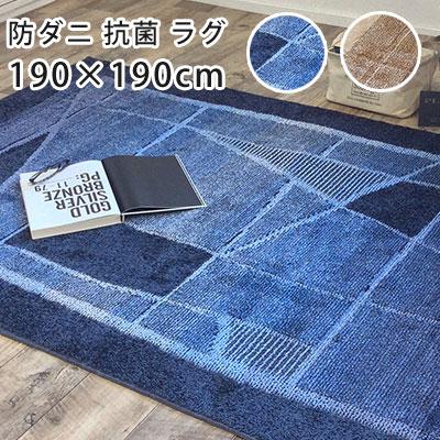 ラグ ラグマット カーペット 絨毯 OM-100 190×190cm おしゃれ 防ダニ 抗菌 洗える シンプル 北欧 冬 オールシーズン 日本製 アンミン / OM-100 190×190cm