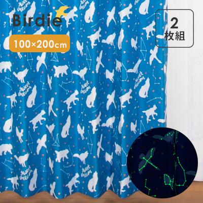 【サンプルあり】Birdie(バーディ) ものしりシリーズ 既製カーテン 子供部屋 キッズ かわいい ドレープ タッセル フック 女の子 男の子 厚地 形状記憶 畜光 洗える アレルG ユニベール 日本製 国産 北欧 アンミン / オホシサマ 100×200cm 2枚組