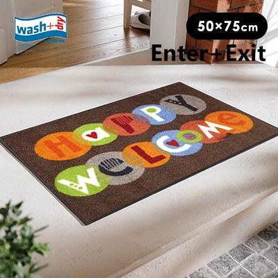 玄関マット 洗える wash+dry(ウォッシュアンドドライ) washdry 屋外 室内 屋内 リビング ラバー アンミン / Happy Welcome 50×75cm
