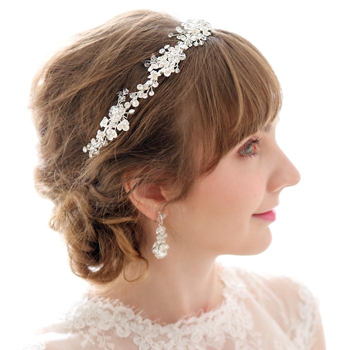 【大人可愛い品良しヘア】【透明感溢れるビジューリース】ヘッドドレス 髪飾り ウェディング ヘッドドレス ビジュー