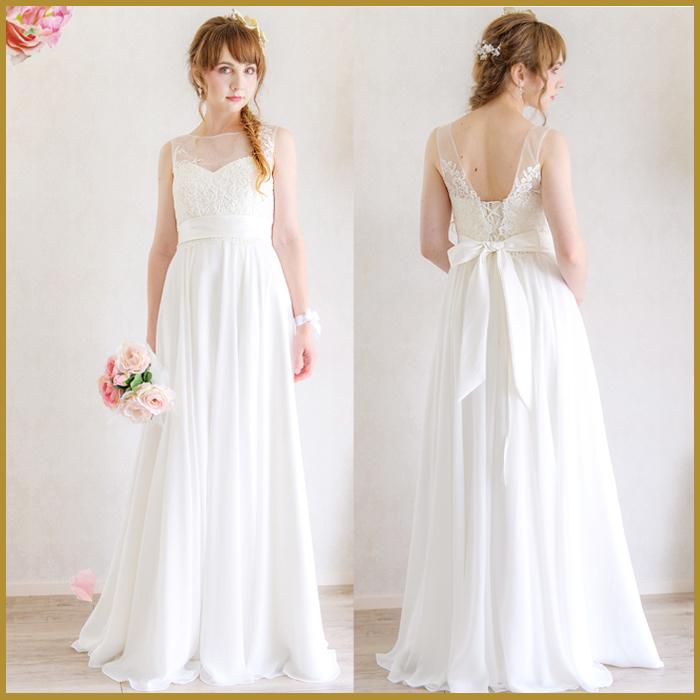 c3078fc738765 ドレス 二次会 花嫁 エンパイアドレス ウェディングドレスエンパイアライン・パールと刺繍・編み上げの ...