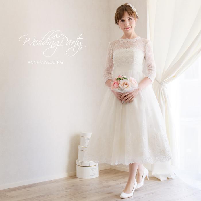 e48a2aa4517a4 二次会の花嫁ドレスは人気急上昇のミモレ丈で決まり ミディアム丈をお ...