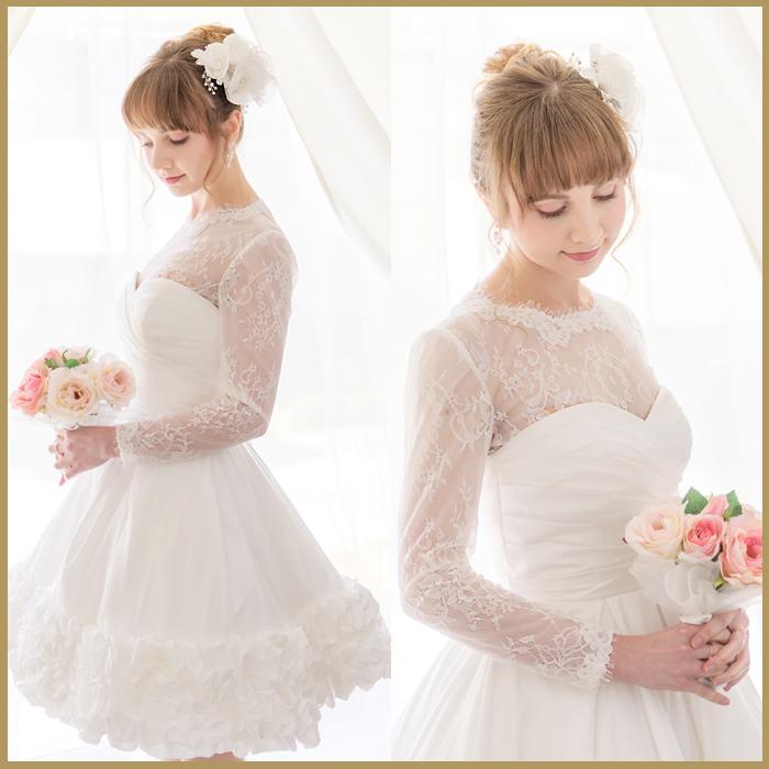 ウェディングミニドレス 花嫁 ミニドレス ミニ 結婚式 格安 ホワイト