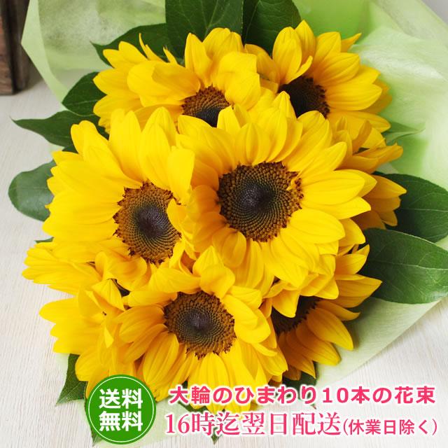 新登場 太陽のように大きなひまわり10本の花束 大輪のひまわり10本の花束 送料無料 向日葵 ヒマワリ お中元 誕生日 割り引き