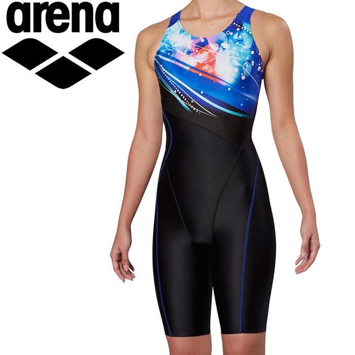 アリーナ 水泳 サークルバックスパッツ ぴったりパッド 着やストラップ フィットネス 水着 レディス FLA-9904W-BLU