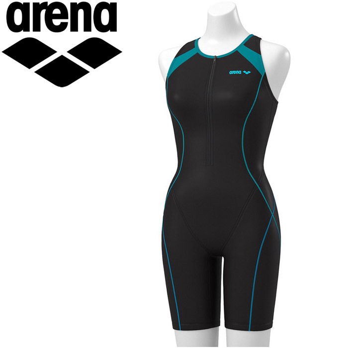 アリーナ 水泳 オールインワン 差し込みフィットパッド フィットネス 水着 レディス FLA-9931W-BKGR