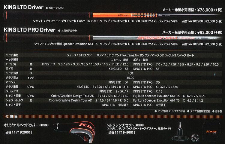 ◇ 코브라 킹 엘 티 디 드라이버 2016 모델 일본 스펙 KING LTD