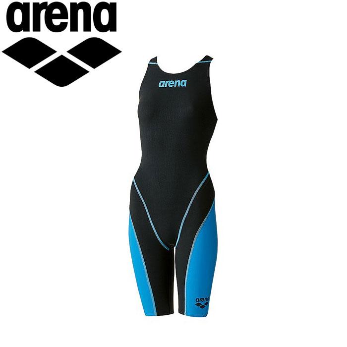 アリーナ 水泳 競泳水着 レーシング レディース ハーフスパッツオープンバック ARN7010W-BKBU