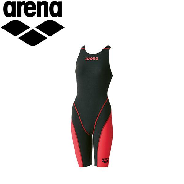 アリーナ 水泳 競泳水着 レーシング レディース ハーフスパッツオープンバック ARN7010W-BKRD
