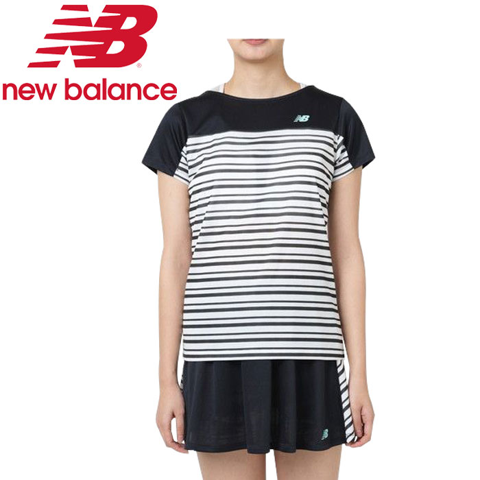 New Balance W horizontal stripe graphic short sleeve T-shirt JWTT9142-BK  Lady's spring of 2019 summer