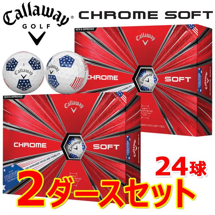 【2ダースセット】 キャロウェイ ゴルフ クロムソフト TRUVIS STARS AND STRIPES ゴルフボール 2018年モデル 並行輸入品 2ダース(24P)