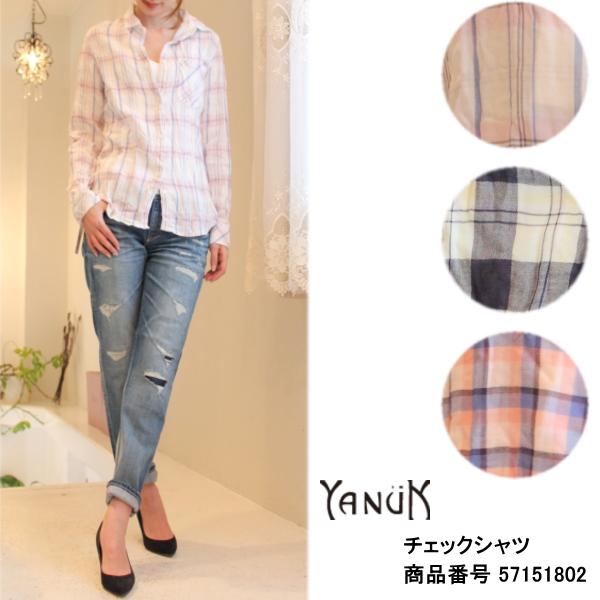 ヤヌーク セール SALE 20%OFF チェックシャツ YANUK 送料無料 カード分割