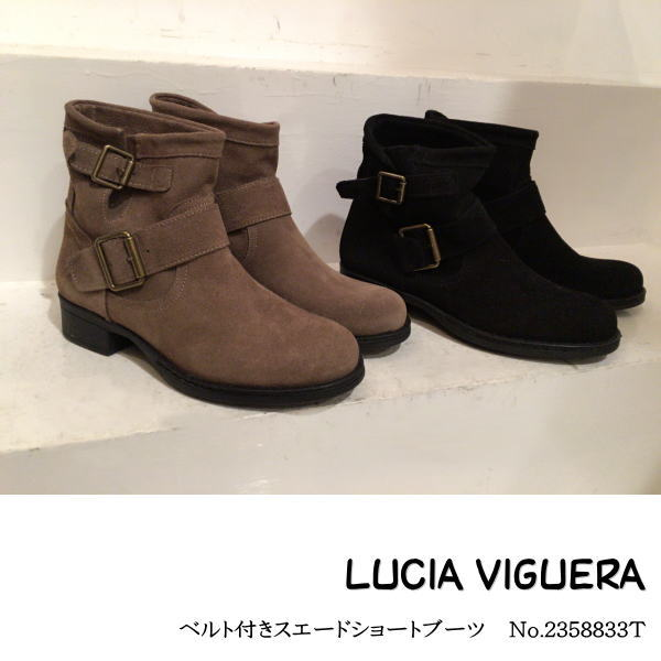 LUCIA VIGUERA インポート シューズ,ブーツ,ショートブーツ,スエード  SALE 20%OFF セール SALE シューズ ベルト付きスエードブーツ LUCIA VIGUERA ブーツ 靴 送料無料 カード分割