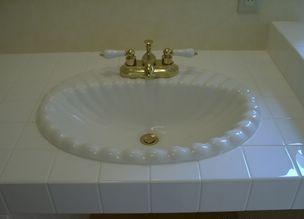 陶器カウンターはめこみ手洗い器/サンタバーバラ