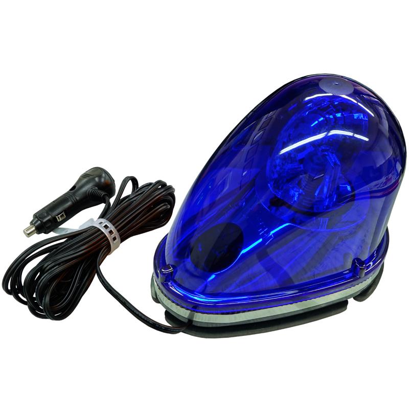 外突規制対応商品。LEDを使用している為、消費電力は従来の白熱球、ハロゲン球の10分の1以下で、超静音、安定回転を実現した商品です。 LED車載回転灯・青色(12V/24V兼用・強力マグネット付)