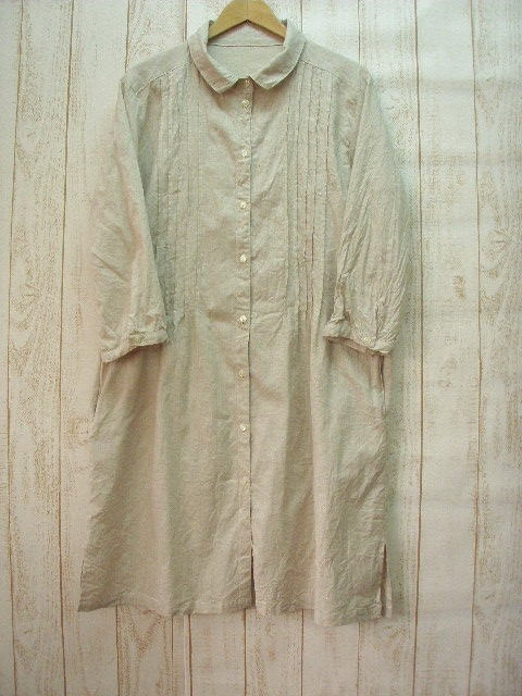 ♪ book sale ♪ Chibi ruffle-collar linen dress off-white M-5 L