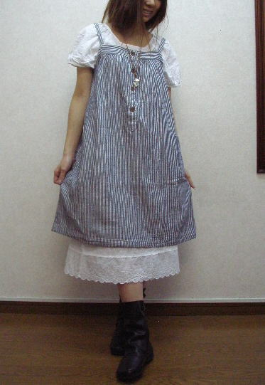 Selling by subscription, hickory and incidentally horizontal stripe W gauze camisole smock dress - 2L - 5L