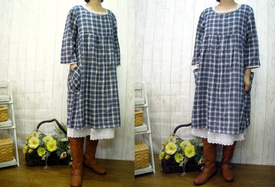 ♪ book sale sale linens &, W moth-Ze check one piece M ~ size 5 L