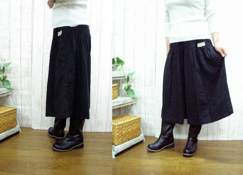Book sale ♪ W gauze culotte pants black, chocolate brown, beige and purple/m-5 L