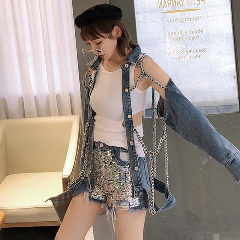 デニムジャケット クラッシュ ダメージ デニム Gジャン ジージャン レディース 韓国ファッション オーバーサイズ 大きめ 大きいサイズ チェーン 鎖 くさり 個性的 かわいい おしゃれ