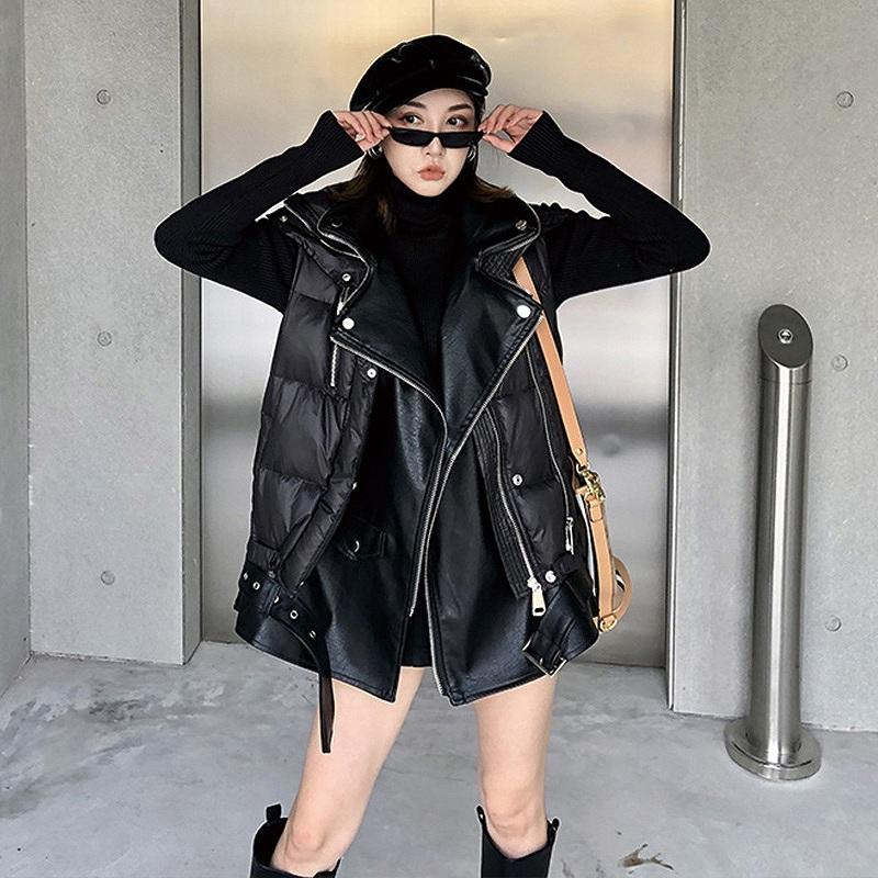 ダウンジャケット レディース ベスト アウター レザージャケット ダウンベスト 韓国 ファッション かっこいい おしゃれ かわいい 黒 ブラック