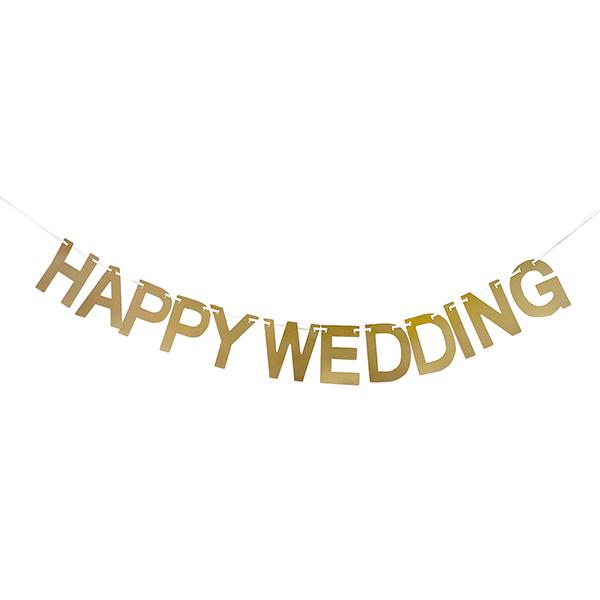 シンプルな HAPPY WEDDING ガーランド 結婚式の飾り付けに シンプルガーランド HAPPY WEDDING (ゴールド) 結婚式 パーティー ウェディング 飾り付け アルファベット レター バナー