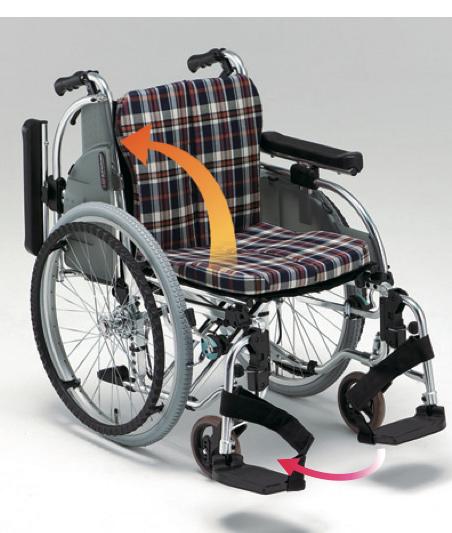 自走用車椅子AR-901 背折れ式・ブレーキ付・肘掛け着脱・スイングアウト