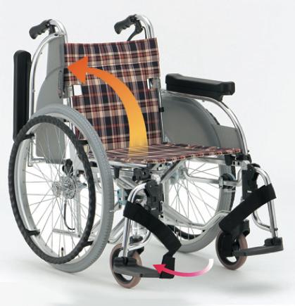 自走用車椅子 AR-501 アルミ製。背折りたたみ式。介助ブレーキ付。肘跳ね上げ。スイングアウト