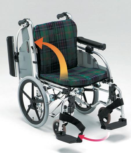 介助用車椅子AR-901 背折れ式・ブレーキ付・肘掛け着脱・スイングアウト