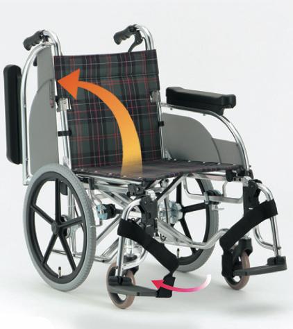 介助車椅子 AR-601 アルミ製 背折りたたみ式 介助ブレーキ付 肘跳ね上げ スイングアウト