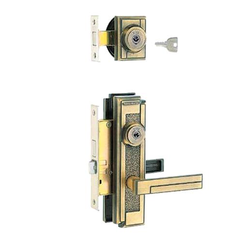 朝日工業 Kシリーズ MIWA交換用特殊錠 M-43 [玄関][トステム・バックセット:51mm・フロント記号:TE-01(補助錠)、LE-01(本錠)]※左右勝手あり