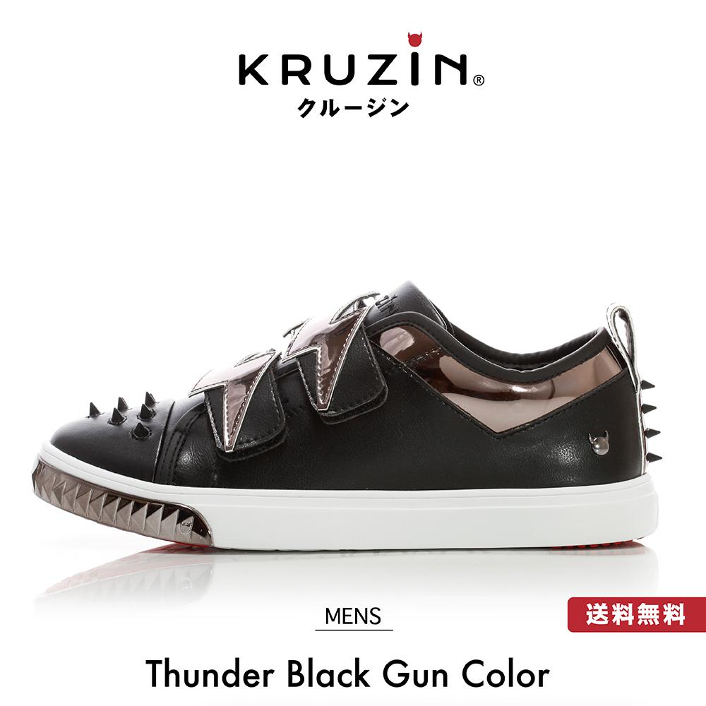 【送料無料】KRUZIN クルージン メンズ レディース Thunder Black Gun Color / キラキラ ゴールド ラメ スタッズ マイアミ発 ラグジュアリー スニーカー ファッション アメリカ ドバイ パリ