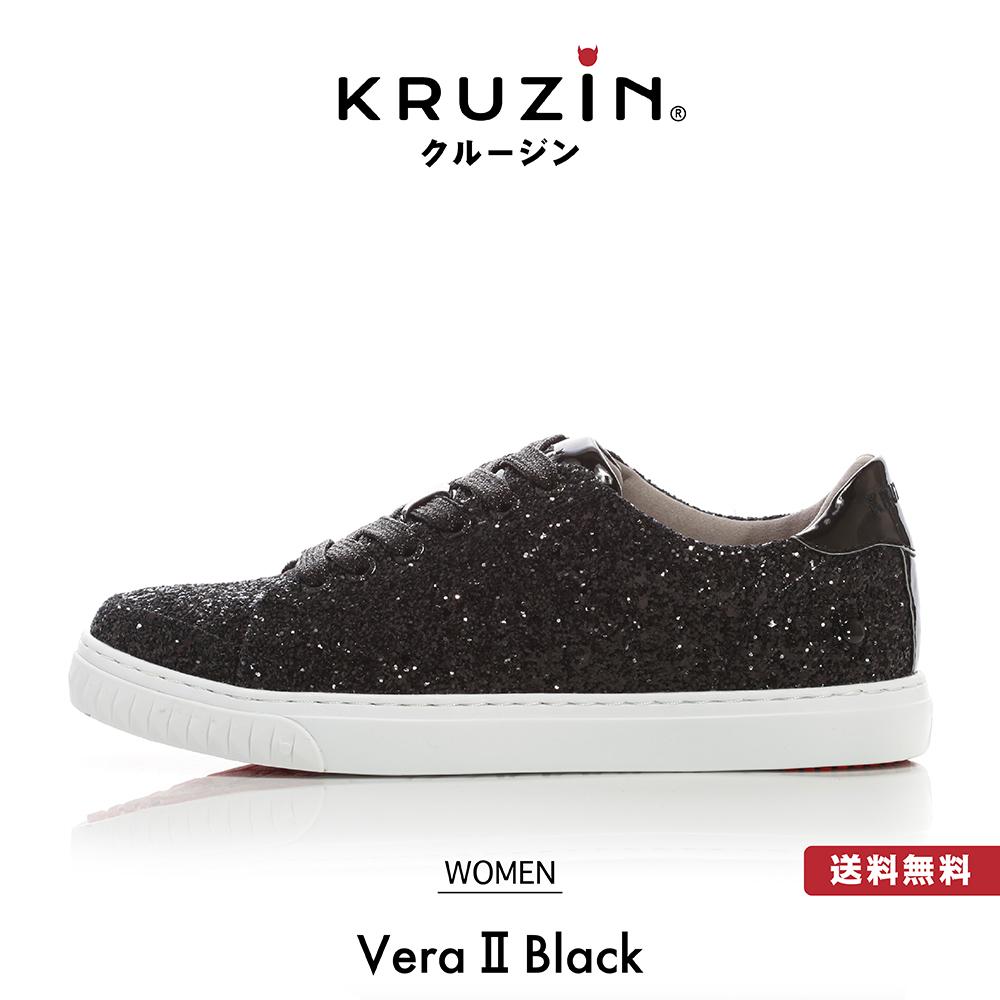 【送料無料】KRUZIN クルージン レディース Vera II Black / キラキラ ゴールド ラメ スタッズ マイアミ発 ラグジュアリー スニーカー ファッション アメリカ ドバイ パリ