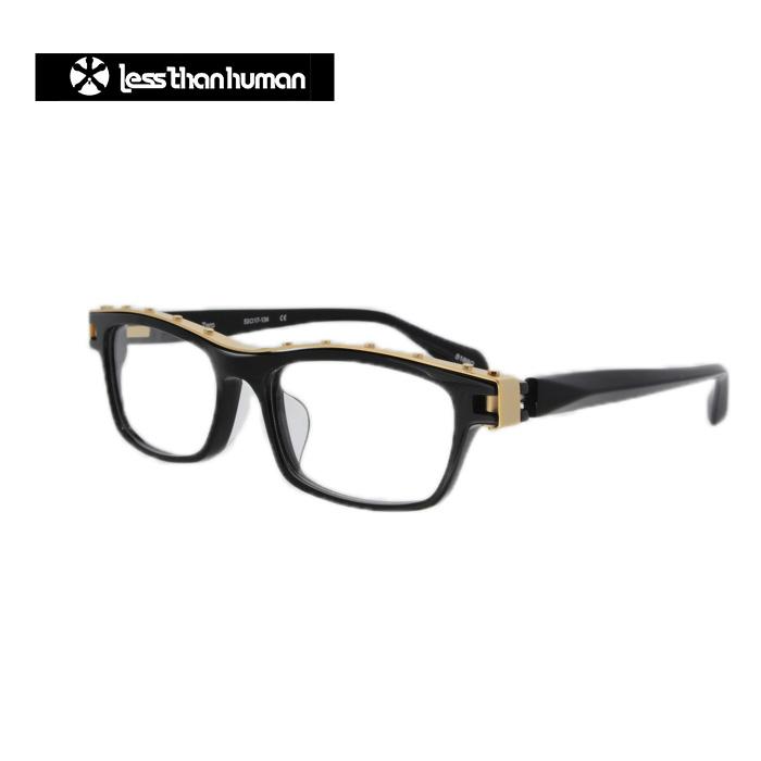 レスザンヒューマン メガネ フレーム めがね 眼鏡 メンズ ウェリントン 伊達メガネ 度付き・度なし Less Than human Zero 5188G(ブラック・ゴールド)-サイズ:53 国内正規品 かわいい おしゃれ 送料無料