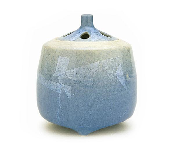 【日本香堂】銀彩ブルー〔大〕 九谷焼〔ギンサイブルー〕【陶器製】【陶器】【九谷焼】【仏具】【仏具単品】【香炉】【送料無料】【スーパーセール 10倍】