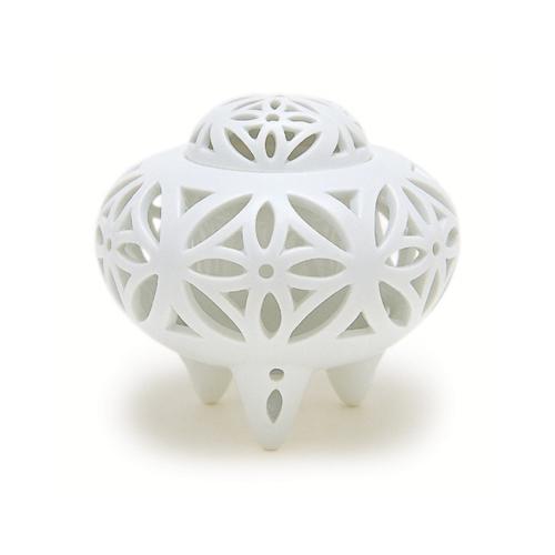 【送料無料】【香炉】【日本香堂】白磁 七宝透し彫【陶器製】kouzarakoutate