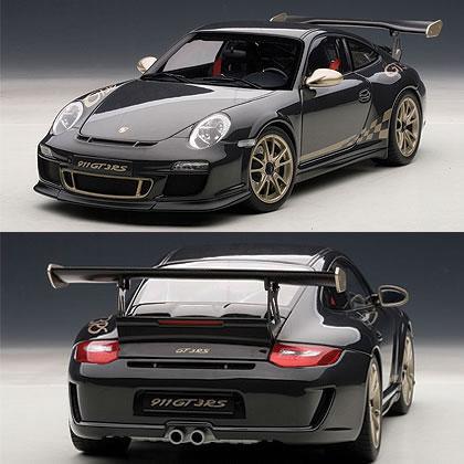 オートアート 1/18 ポルシェ 911 (997) GT3 RS 3.8 グレーブラック (ゴールドストライプ)