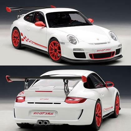 オートアート 1/18 ポルシェ 911 (997) GT3 RS 3.8 ホワイト (レッドストライプ)