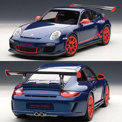 3 8 automatic art 1/18 Porsche 911 (997) GT3 RS blue (red stripe)