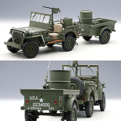 car hobby shop answer rakuten global market autoart 1 18 jeep willys army green trailer. Black Bedroom Furniture Sets. Home Design Ideas