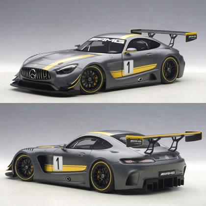 オートアート 1/18 メルセデス AMG GT3 プレゼンテーションカー グレー (イエローストライプ)
