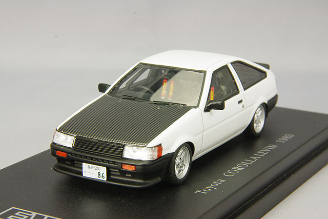 CAM@ 1/43 トヨタ カローラ レビン AE86 スポーツカスタム仕様 1983 ホワイト(カーボンボンネット)(井桁スポークホイール装着)
