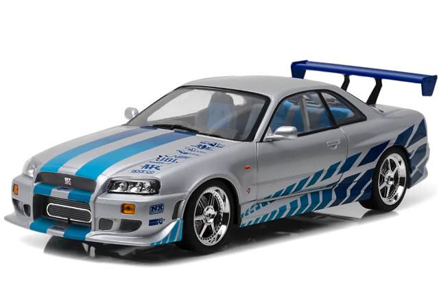 GREENLIGHT 1/18 ワイルド・スピード スカイライン GT-R R34 1999 シルバー/ブルー