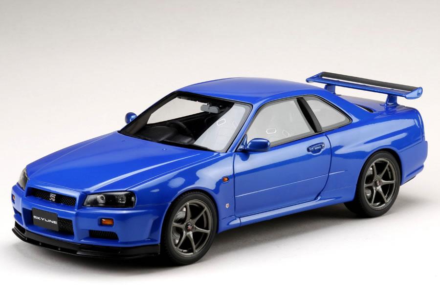 Hobby JAPAN 1/18 日産 スカイライン GT-R (BNR34) Vスペック 1999 前期型 ベイサイドブルー
