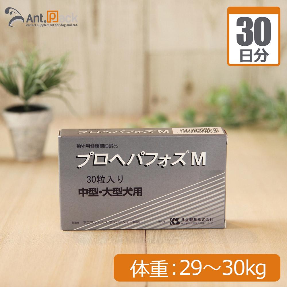 【送料無料】共立製薬 プロヘパフォスM (中型・大型犬用) 体重29kg~30kg 1日4粒30日分